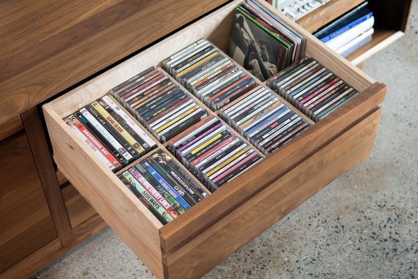 AERO CD DVD Vinyl Drawer Storage made with premium North American woods.