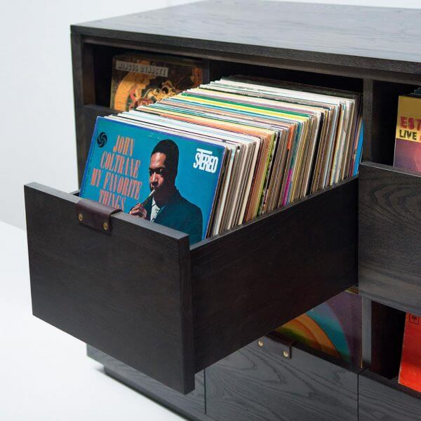 Dovetail Vinyl Storage Cabinet constructed with premium North American hardwoods. Includes a dark stout wood finish, soft-close under-mount drawers slides, and tanned leather handles for secure and convenient LP access.