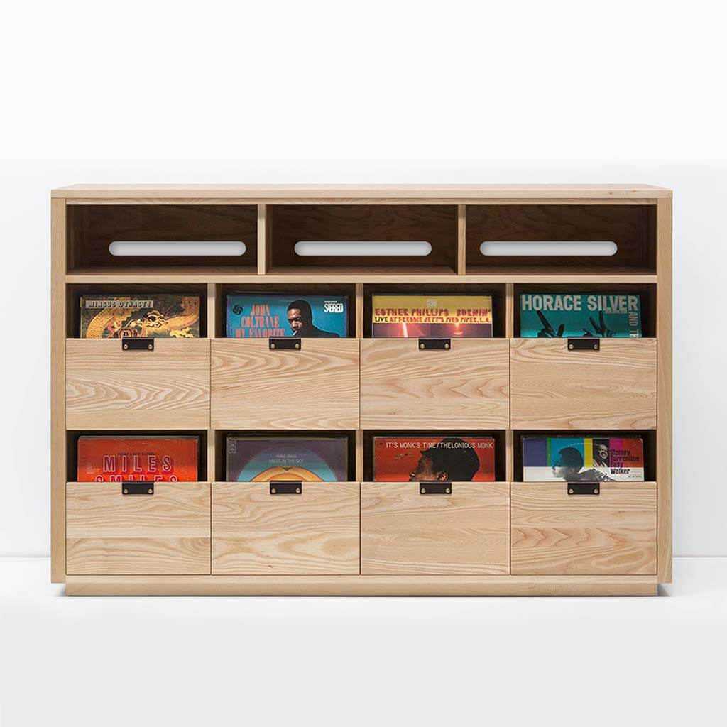Dovetail 4 X 2.5 Vinyl Storage Cabinet with light yellow-hued natural ash finish displaying LP storage. Features an equipment shelf with passive ventilation and cable management for audio equipment storage and access. Includes dovetail drawer boxes with full extension soft-close under-mount slides and can fit 720 vinyl records.