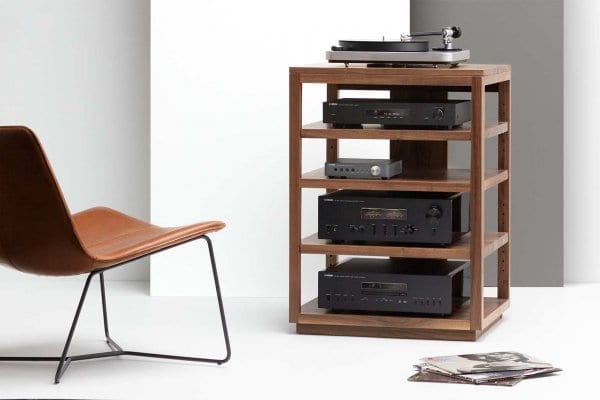 Dovetail Walnut Audio Rack with Yamaha Gear and Clear Audio Turntable