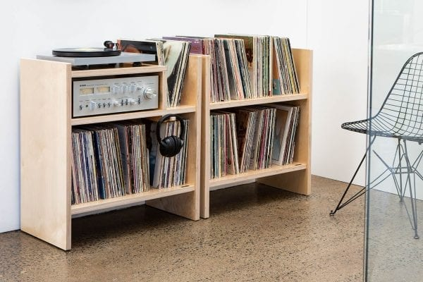 MAX Turntable and Record Stands in Birch