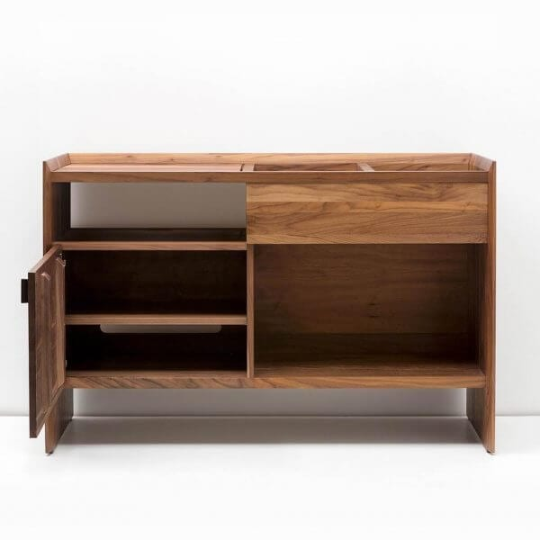 Unison Record Stand constructed with Walnut North American hardwoods with drawers and shelves opened.