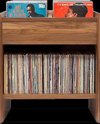 Unison Vinyl Storage Cabinet with flip-style LP storage bins and room for 330 LPs. Convenient shelf LP storage access. Crafted from premium North American hardwoods and focused on premium vinyl storage.